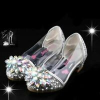 Kids Christmas Birthday Party Cinderella Elsa Anna Princess Crystal High Heels
