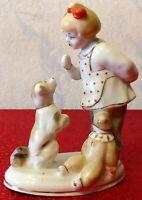Vintage Porcelain Figurine Girl With A Dog Soviet USSR Polonne ZHK UK