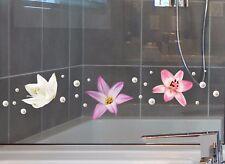 Aufkleber Sticker Wandsticker Wandaufkleber Blume Lila Lilie Lily Fenster Bad WC