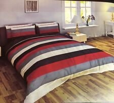 SUPER KING SIZE COMPLETE SET MULTI STRIPE RED GREY SILVER WHITE POLYESTER