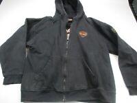 HARLEY DAVIDSON Men's XL Black Embroidered Full Zip HOODIE Jacket Milwaukee WI