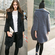 Women's Winter Parka Trench Coat Faux Fur Long Sleeve Jacket Outwear Overcoat
