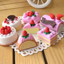 Creative Cute 4Pcs Random Eraser Rubber Stationery Cake Shaped School Supplies d