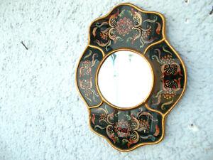 Antike Wandspiegel Keramik/Glas Spiegel mit  Blumen Handarbeit,Handbemalt.