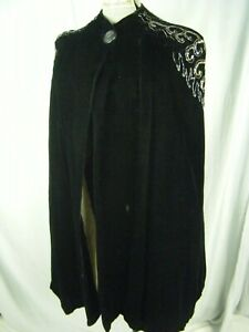 Vintage 1940s Black Velvet Silver Beaded Cape w/Cream Quilted lined -One size