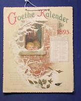 Goethe Kalender für 1893 Chromolithographie Jahrweiser Kalendarium js