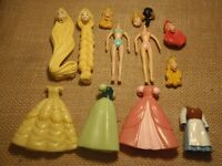 Polly Pocket Disney Princess Lot Switchable Heads Outfits Doll Dresses H33