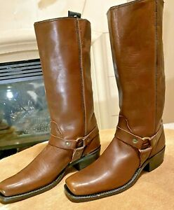 "Men's NEW DINGO Tall 14"" Brown Motorcycle Harness Boots (Style 60012) 10D."