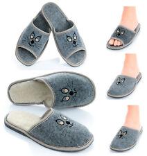 Damen Sommer Winter Filz HausSchuhe Pantoffeln Pantoletten mit Katze Augen 36-41