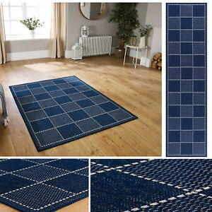 Checked Flatweave Utility Mats Kitchen Rugs Hall Runners Blue