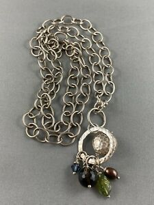 """Sterling Silver Chain Link Necklace Boho Chic Dangle Pendant Stone Long 30"""""""