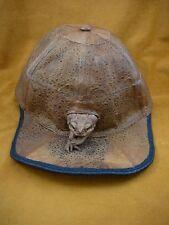 (EL1000-80-1) GENUINE Real Bufo Marinus Cane Toad brown Leather BASEBALL CAP hat