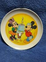 "VINTAGE 8"" WALT DISNEY MICKEY MOUSE PLASTIC PLATE-BIRTHDAY THEME"