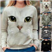 Women Long Sleeve 3D Animal Printed O-Neck Tops Tee T-Shirt Ladies Loose Blouse