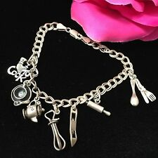 """Sterling Silver Charm Bracelet I Love To Cook Theme Pans Mixer RollingPin 7.5"""""""
