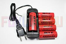 5 PILES ACCUS RECHARGEABLE 8800mAh 26650 3.7V Li-ion BATTERIE BATTERY + CHARGEUR