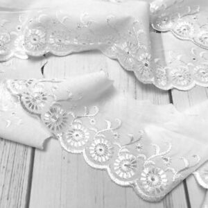 Broderie Anglaise Scalloped Lace Trim 75mm Wide - White - Per Metre