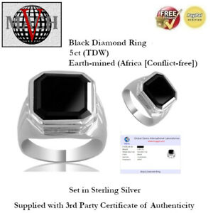 5ct (TDW) Black Diamond Ring - Sterling Silver + Certificate of Authenticity