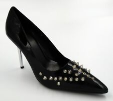 "Ellie ""Severe"" Black Pointed Spiked Shoes 4"" Stiletto Heel 8"