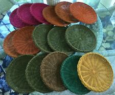 Lot 16 Vintage Real wicker paper plate holders picnic aid round solid weave