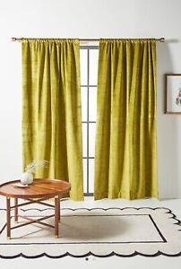 Brand New Anthropologie Slub Velvet Curtains in Verde