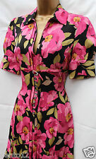 Karen Millen 1940s Black Pink Silk Floral Shirt Tea Cocktail Party Dress SZ 8