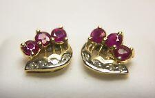 Rubí y Diamante Pendientes 0015