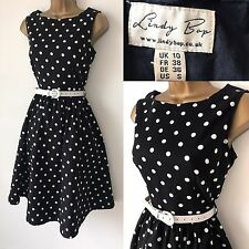 Lindy Bop Dress Size 10 Black White Spotty Polka Dot 50's Vintage Look 585