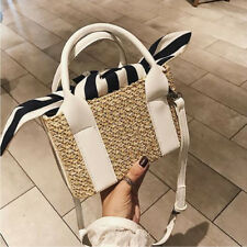 Colorblock Straw Double Bag - White (LSG070255)