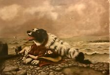 Early 19th Century Antique Oil Painting Dog Rescuing Girl Seascape