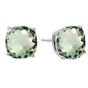 Natural Green Amethyst Sterling Silver Green Cushion Cut Push Back Stud Earring