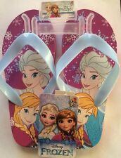 New Disney Frozen Elsa & Anna Flip Flops Slippers Magenta/ Sky Blue Size: 11/12
