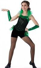 Celebrate Dance Tap Costume Kelly Green Christmas Biketard w/Ruffle Child/Adult