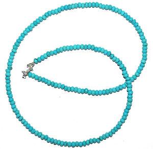 "925 Fine Silver 18"" Strand Necklace Sky Turquoise Gemstone Round 4.5mm Beads IK8"