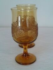 Two Vintage Goblet Honey Amber Colored Wine Drinking Glass Footed Bar Drinkware