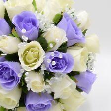 Artificial Wedding Flowers Silk Brides Shower Teardrop Bouquet in 33 Colours