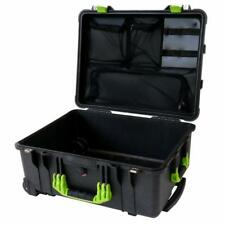 Black & Lime pelican 1560 with 1569 lid organizer. Case is empty.