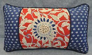 Pillow made w Ralph Lauren Cote D'Azur Red Sunflower & Indigo Blue Floral Fabric