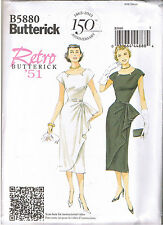 50s Retro Wiggle Evening Cocktail Dress Side Tuck Sewing Pattern Sz 6 8 10 12 14