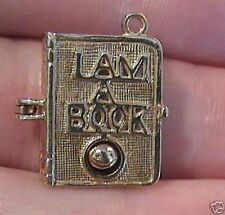 14k gold vintage Book Worm charm Opens