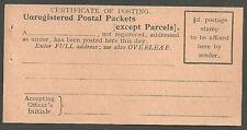UNUSED BROWN CERTIFICATE OF POSTING UNREGISTERED POSTAL PACKETS 1937