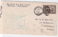 montreal to burlington  1928 first flight air mail stamps cover ref r15339