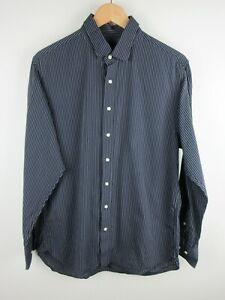 Daniel Hechter Mens Shirt Size L Long Sleeve Button Up Tailored Fit Black Strip