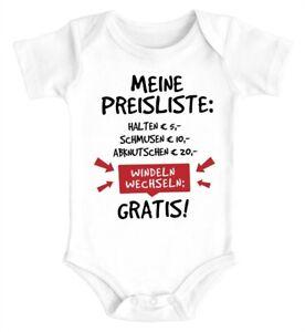 Baby Body mit Spruch lustig meine Preisliste Bio-Baumwolle Jungen & Mädchen