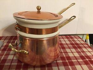 Vintage Benjamin & Medwin Douro Copper Ceramic Double Boiler Brass Handles B & M