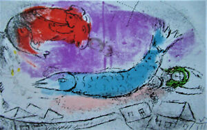CHAGALL - JONAH AND THE FISH - ORIGINAL LITHOGRAPH 1957 - FREE SHIP US !!!
