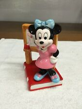 Schmid Disney Minnie Mouse Writing On A Chalkboard Standing On Red Book Figurine