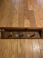 Vintage Country Wall mounted coat rack shelf - 3 Hooks & Shelf