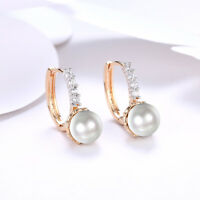 "BEAUTIFUL 14K YELLOW GOLD WITH FRESH WATER PEARL POST DROP 1"" EARRINGS"