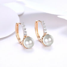 "Water Pearl Post Drop 1"" Earrings Beautiful 14K Yellow Gold With Fresh"